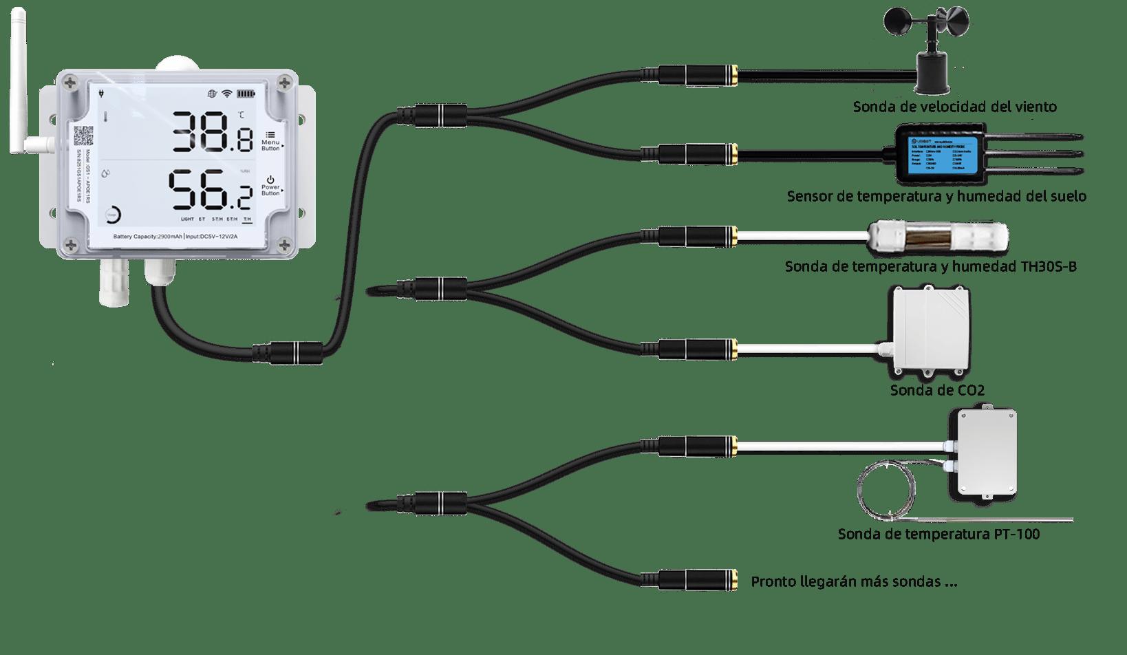 temperature sensor with external probes