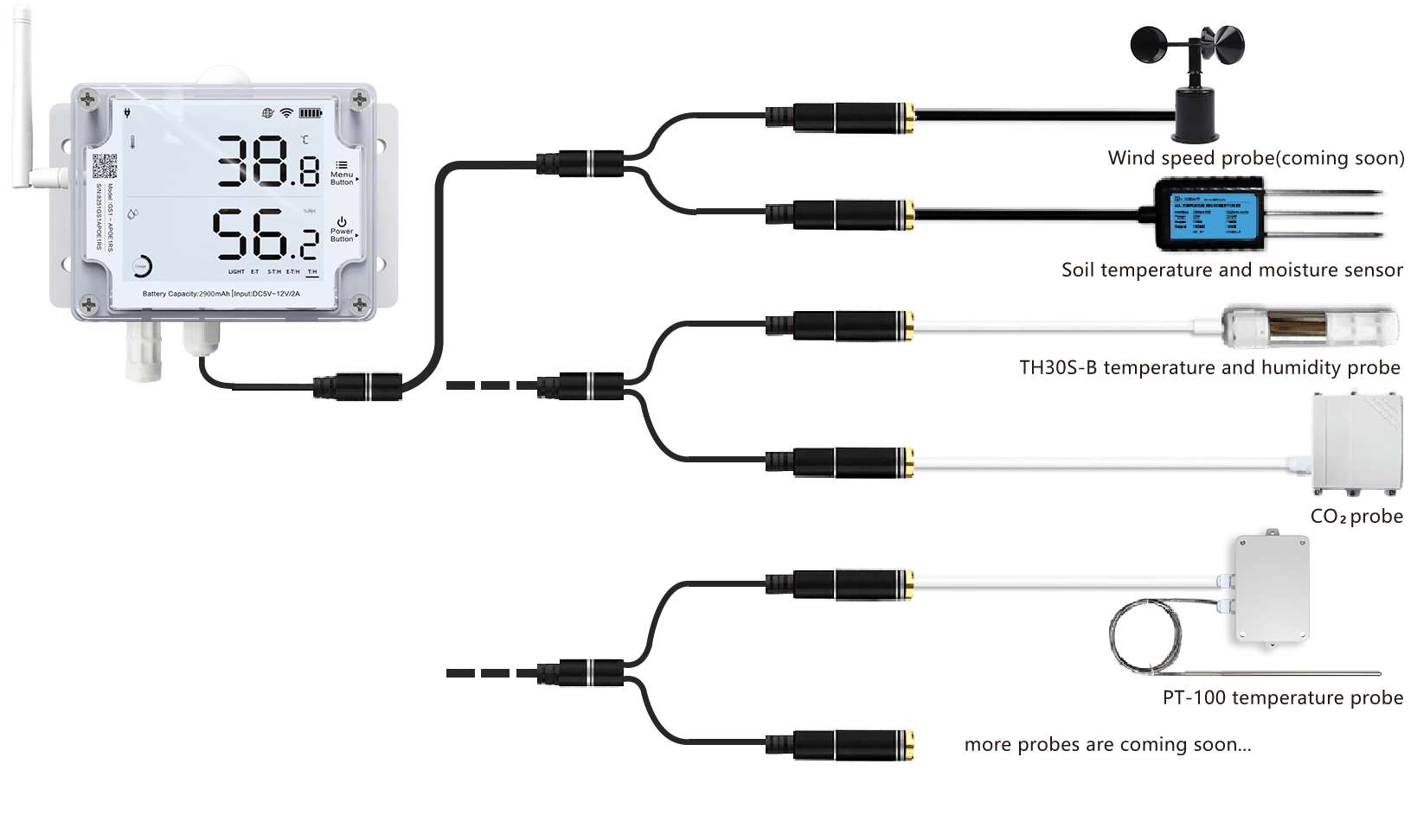 temperature sensor with external probes